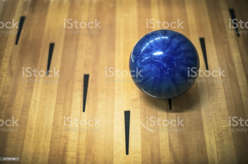 Ten Pin Bowling ball at the arrows stock photo