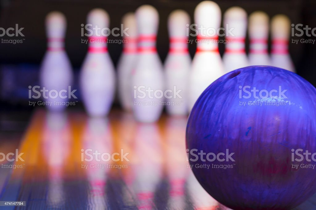 Ten Pin Bowling - Focus on ball stock photo