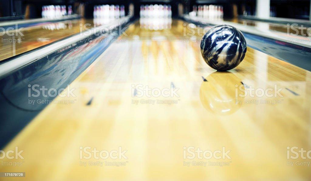 Ten pin bowling shoot stock photo