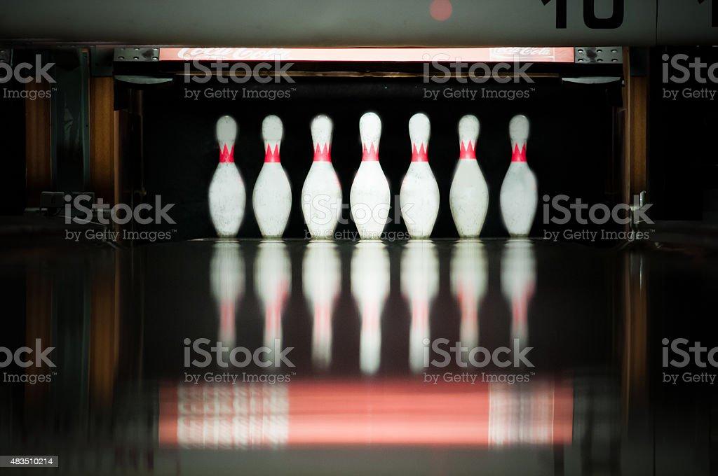 Ten pins. Bowling stock photo