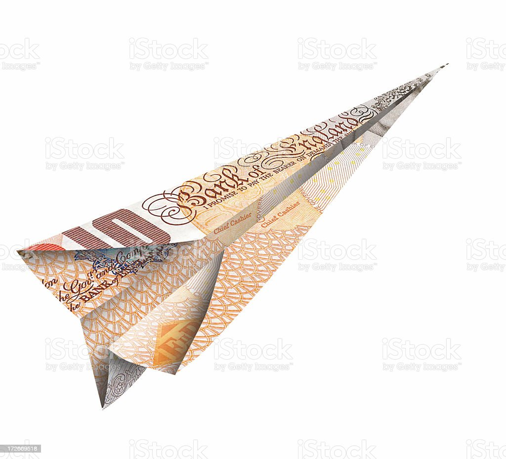 ten pound note flying right stock photo