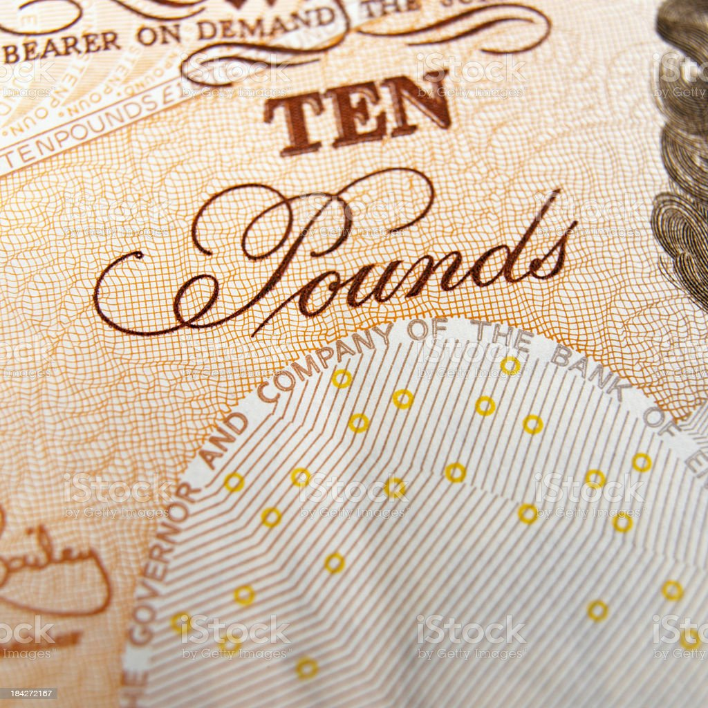 Ten pound note stock photo