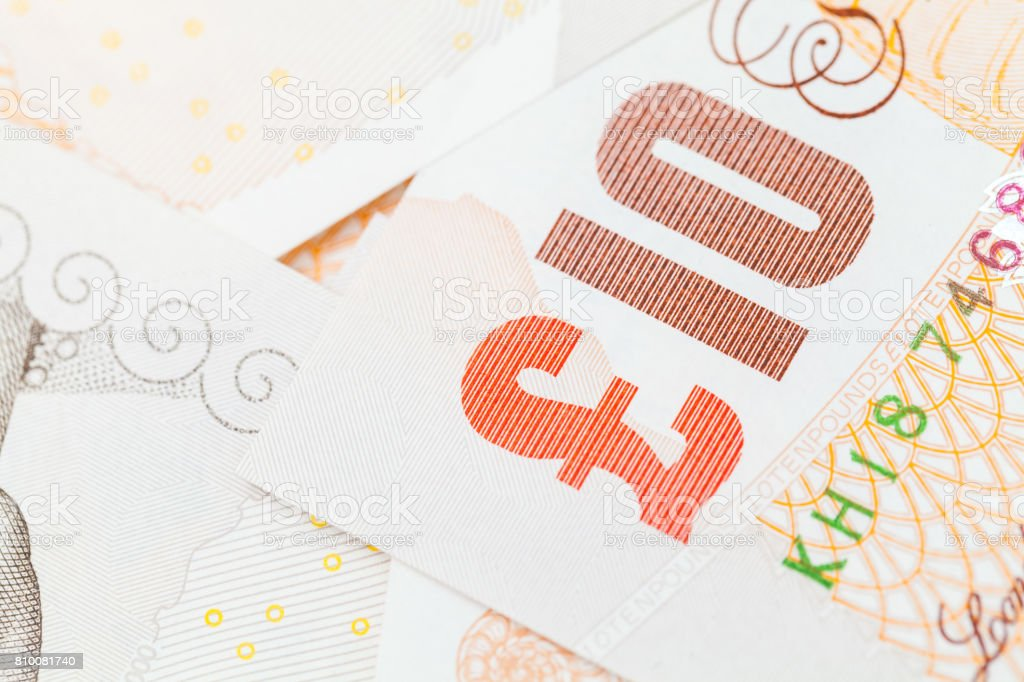 Ten pound notes of the Bank of England. Close-up stock photo