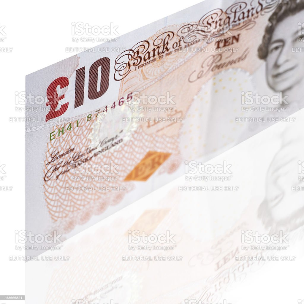 Ten pounds banknote isolated on white stock photo