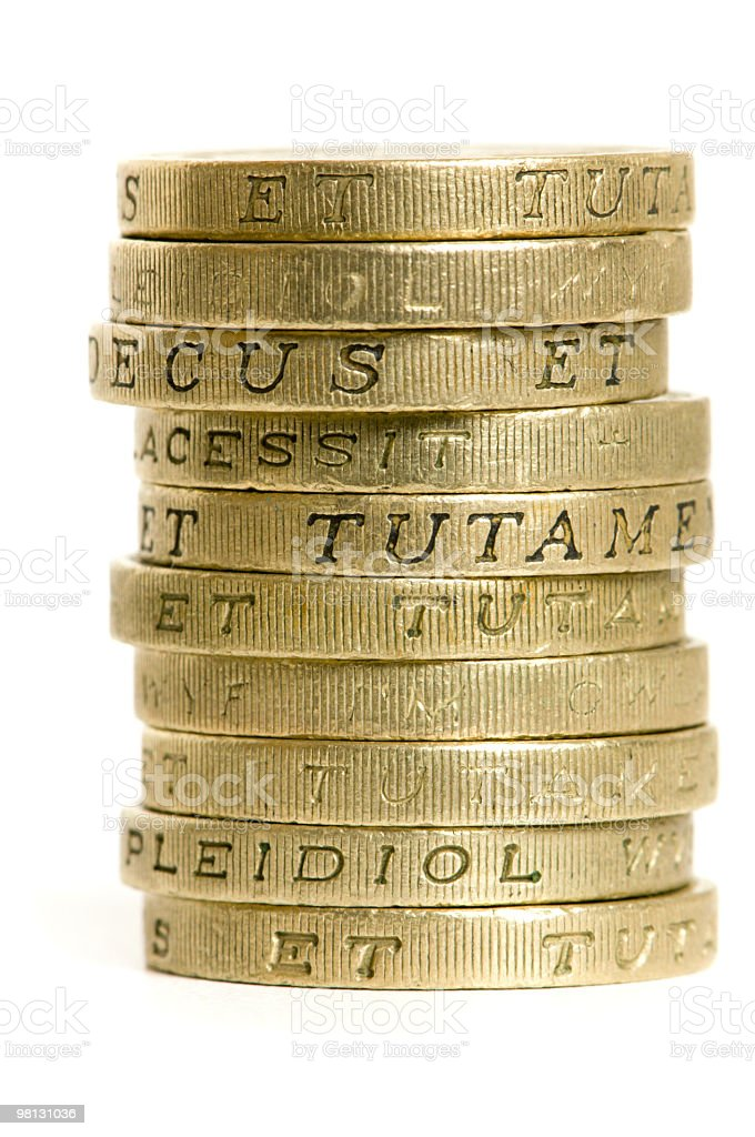 ten pounds in coins royalty-free stock photo