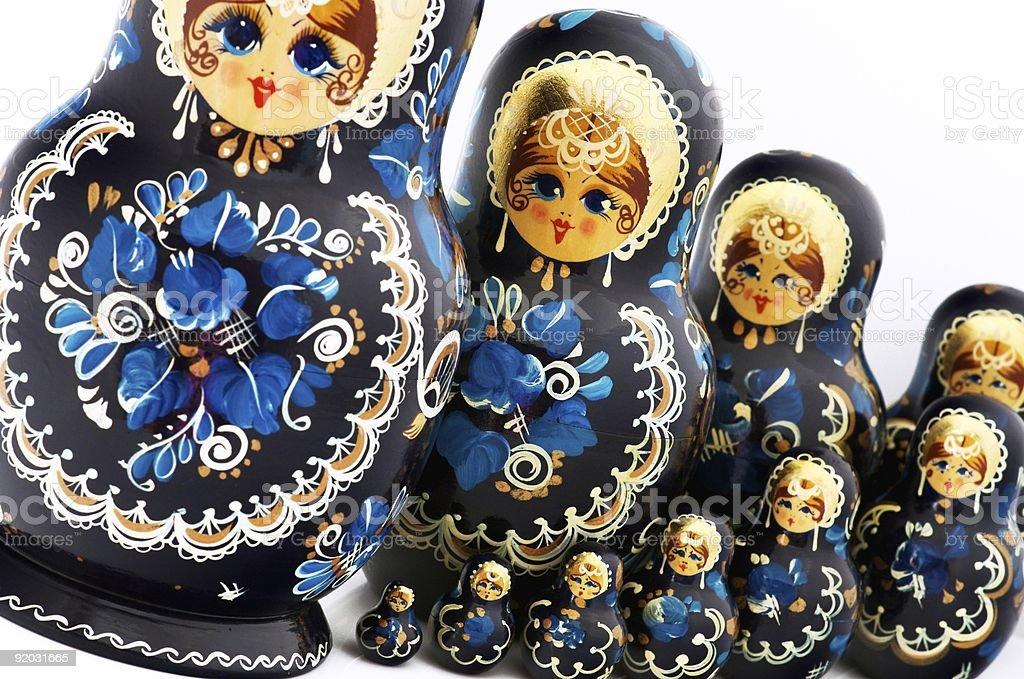 Ten Russian dolls royalty-free stock photo