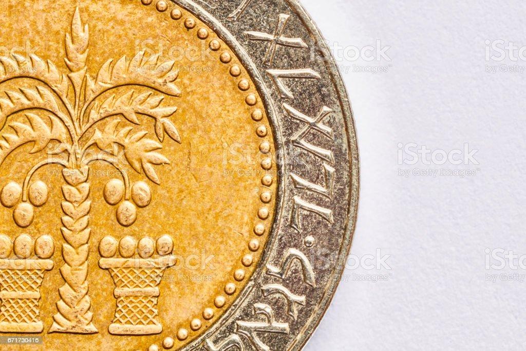 Ten shekel coin macro isolated on white surface stock photo