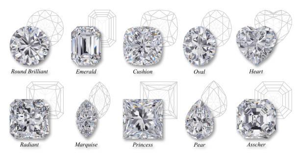 tien de populairste diamant geslepen vormen met namen, diagrammen op witte achtergrond - diamant stockfoto's en -beelden