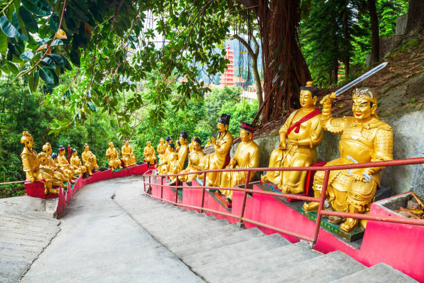 Ten Thousand Buddhas Monastery, Hong Kong Ten Thousand Buddhas Monastery or Man Fat Sze is a buddhist temple located in Sha Tin in Hong Kong, China sha tin stock pictures, royalty-free photos & images