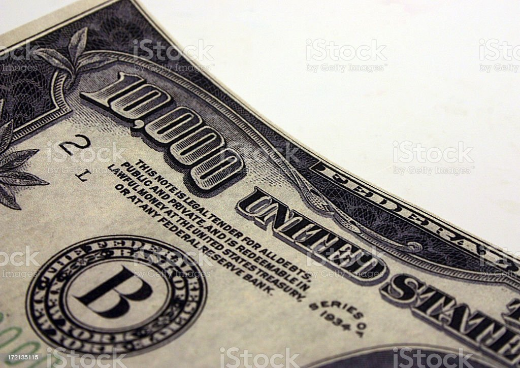 U.S. Ten Thousand Dollar Bill stock photo