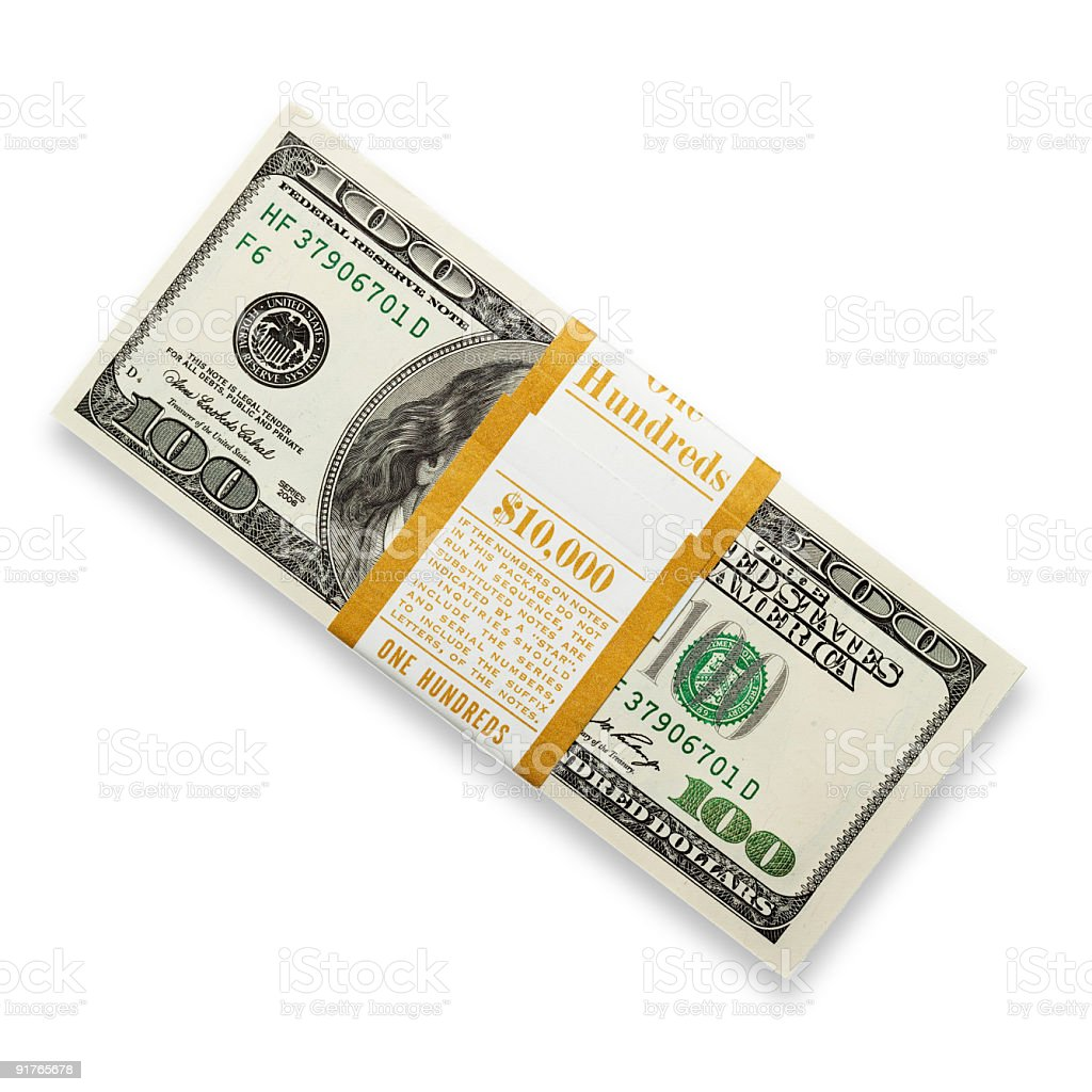 Ten thousand dollars in pack. stock photo