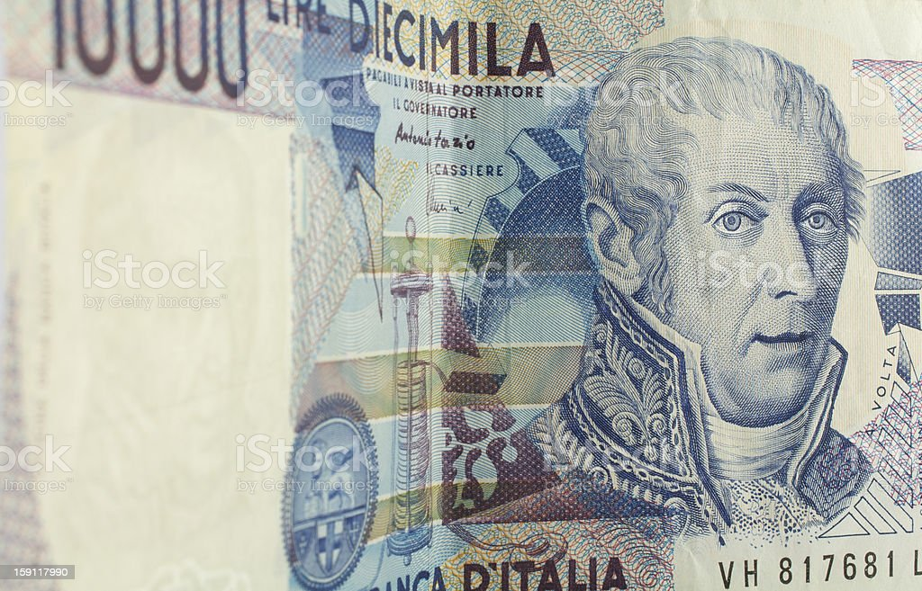 ten thousand liras banknote extended royalty-free stock photo