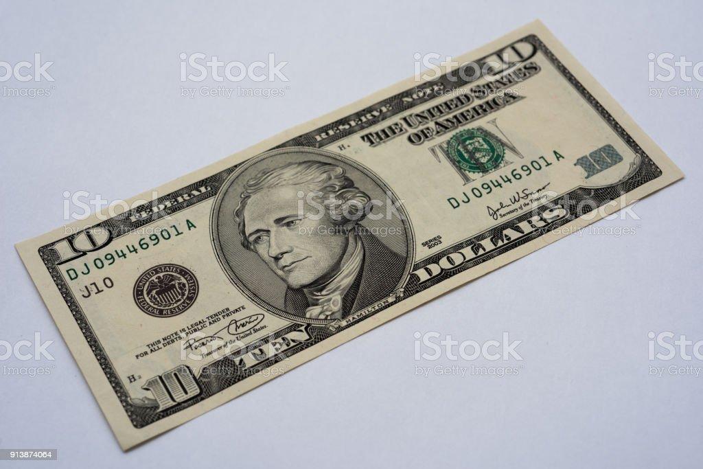 ten us dollar note stock photo