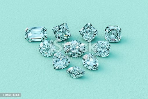 Ten the most popular cut diamonds: emerald, princess, radiant, asscher, round, oval, cushion, heart, pear, marquise; on turquoise textured paper background