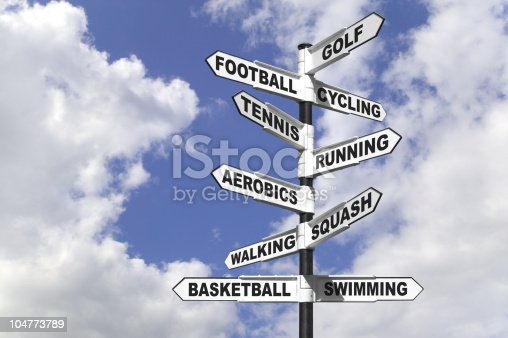 Concept image of a signpost showing ten different ways to exercise for a healthy lifestyle.