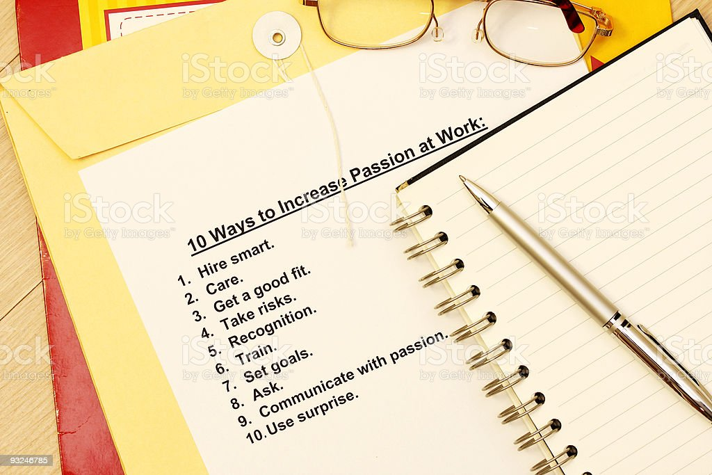 Ten ways to increase passion at work stock photo