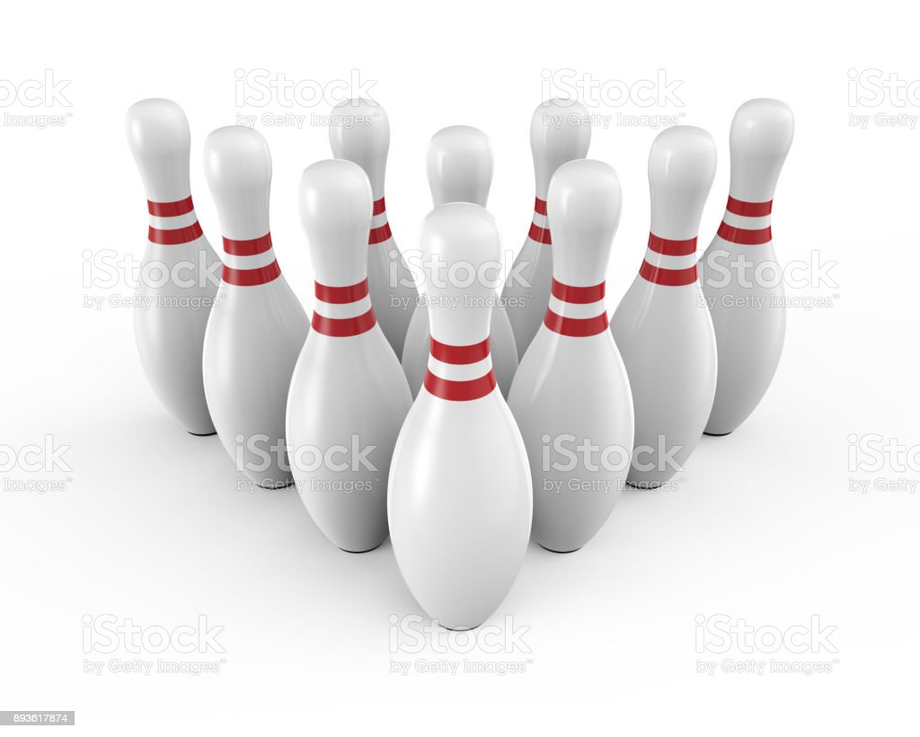 Ten white bowling pins - foto stock