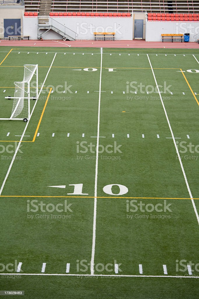 Ten yard line in a football stadium royalty-free stock photo