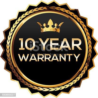 istock Ten year warranty gold badge 530650027