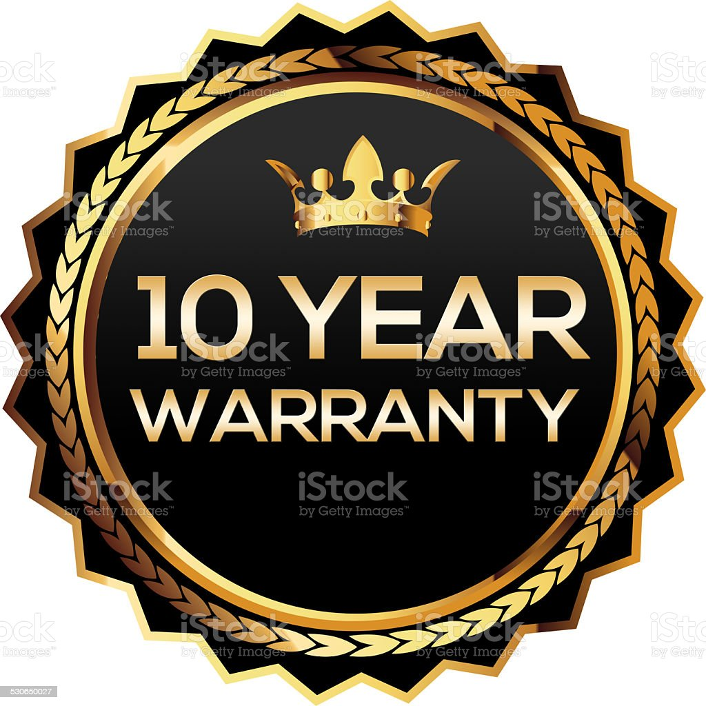 Ten year warranty gold badge stock photo