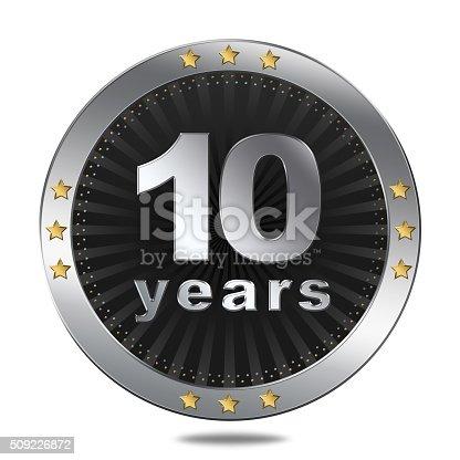 istock Ten years anniversary button 509226872