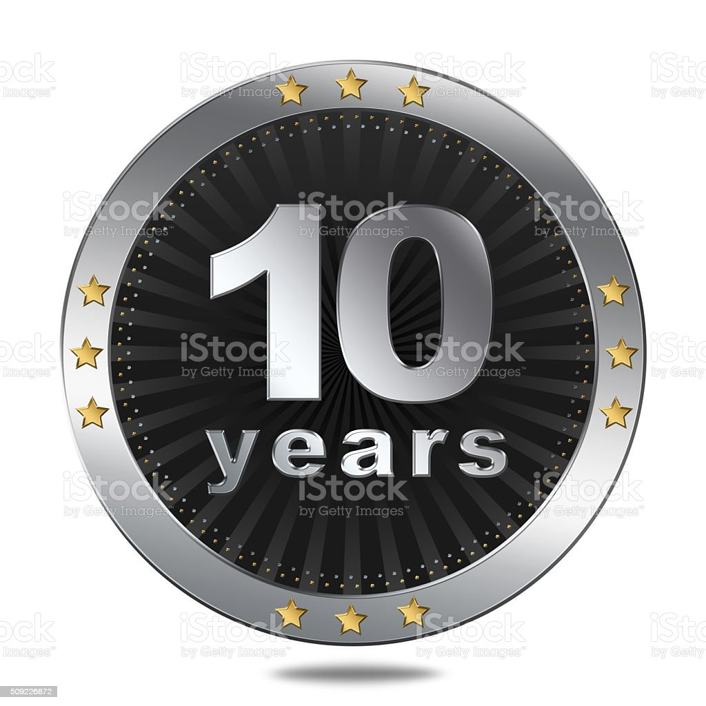 Ten years anniversary button stock photo