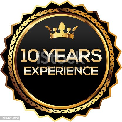 istock ten years experience gold badge 530649529