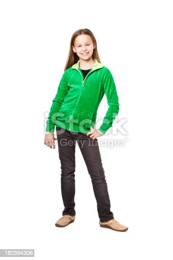 ten years old happy girl isolated on white
