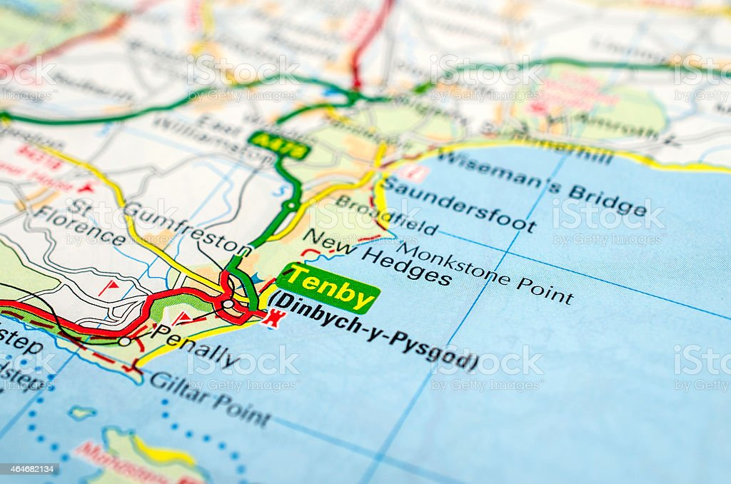 Tenby On Road Map Stock Photo - Download Image Now - iStock on