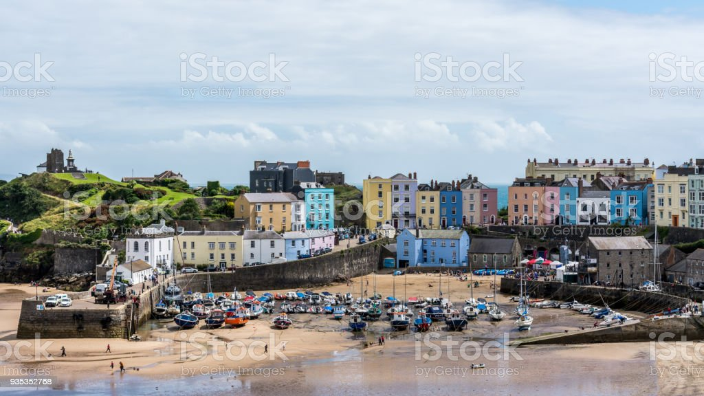 Tenby, Pemborkeshire, Wales - 08/06/2016: The beach and harbour at the seaside resort of Tenby, Pembrokeshire, Wales. royalty-free stock photo