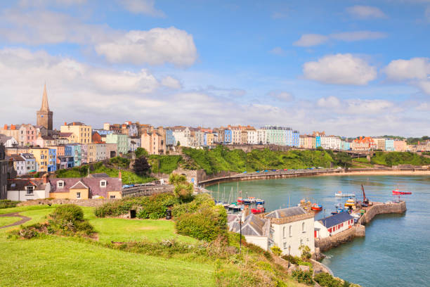Tenby, Pembrokeshire, Wales, UK, from Castle Hill. stock photo
