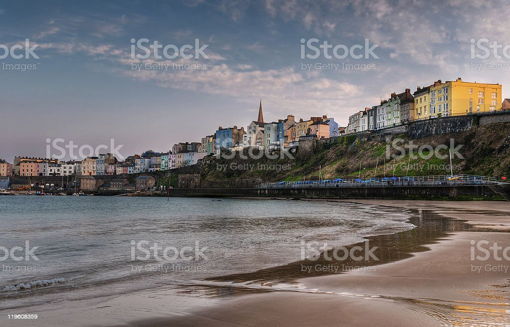 Tenby, Wales Sunset on the Beach stock photo