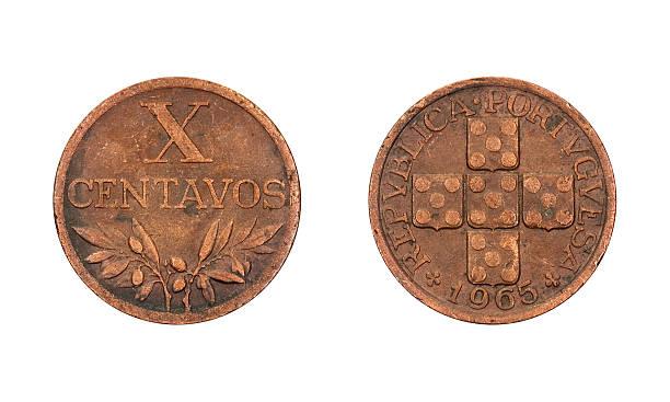 Ten-Centavos-Coin, Portugal, 1965 stock photo