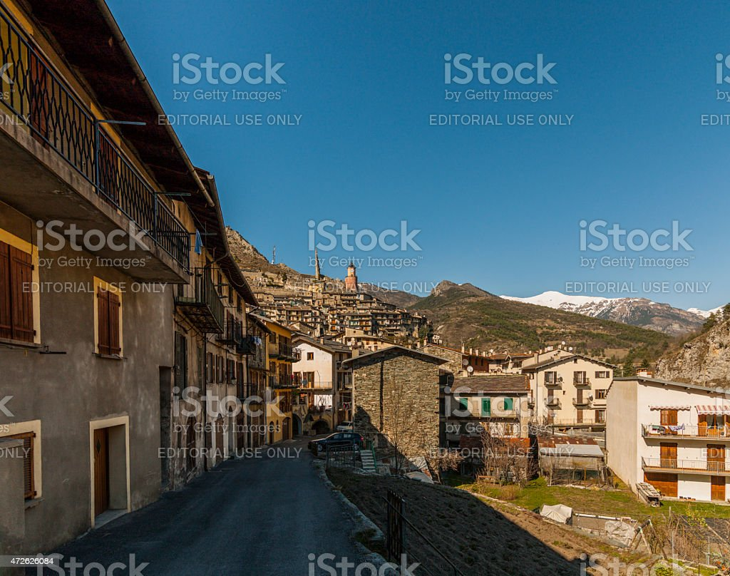 Tende, France: in the Old Town with mountain landscape stock photo