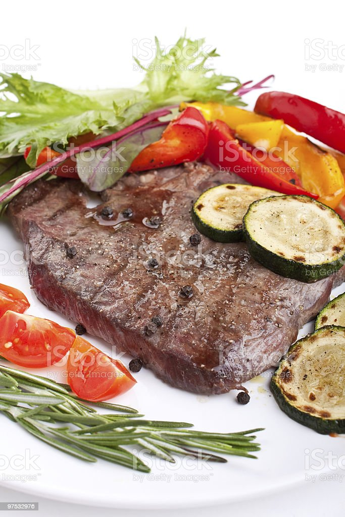 tender beef fillet steak with vegetables royalty-free stock photo
