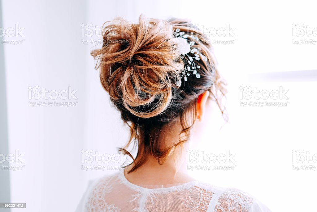 6a8fbf1a2eb Tender Elegant Young Brunette Bride With Hairdo Hairpin And Bridal ...