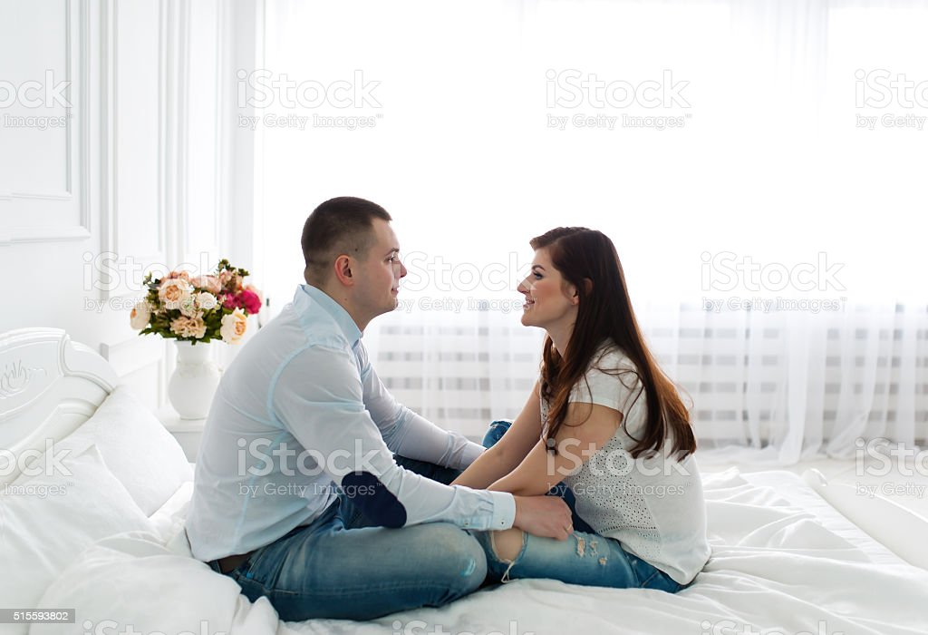 Tender feelings of a loving couple. stock photo