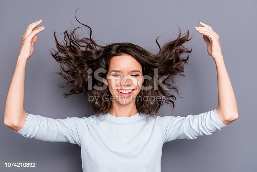 istock Tender gently sweet lady in style stylish casual clothes with he 1074210892