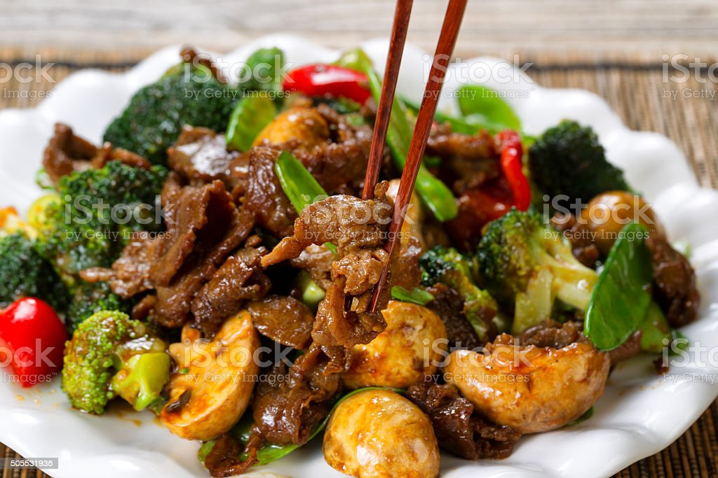 Tender juicy beef slices and mixed vegetables ready to eat stock photo