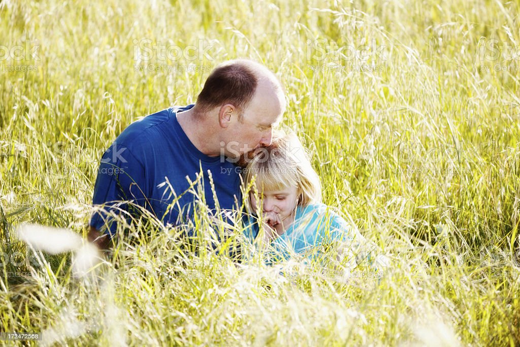 Tender moment as Dad kisses daughter on head in meadow stock photo