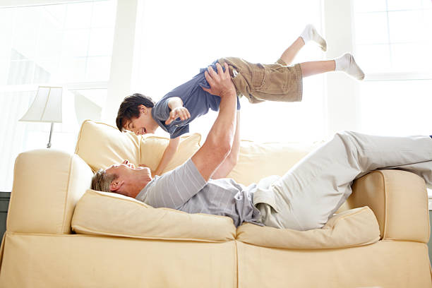 Tender moments between father and son stock photo