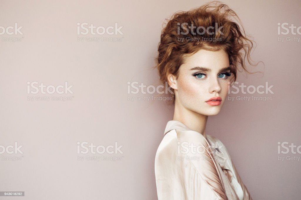 Tender portrait of a beautiful girl stock photo