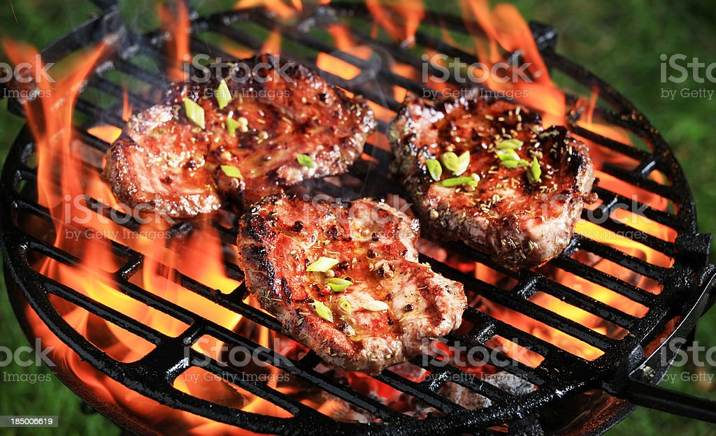 Tender steak on a barbecue grill royalty-free stock photo