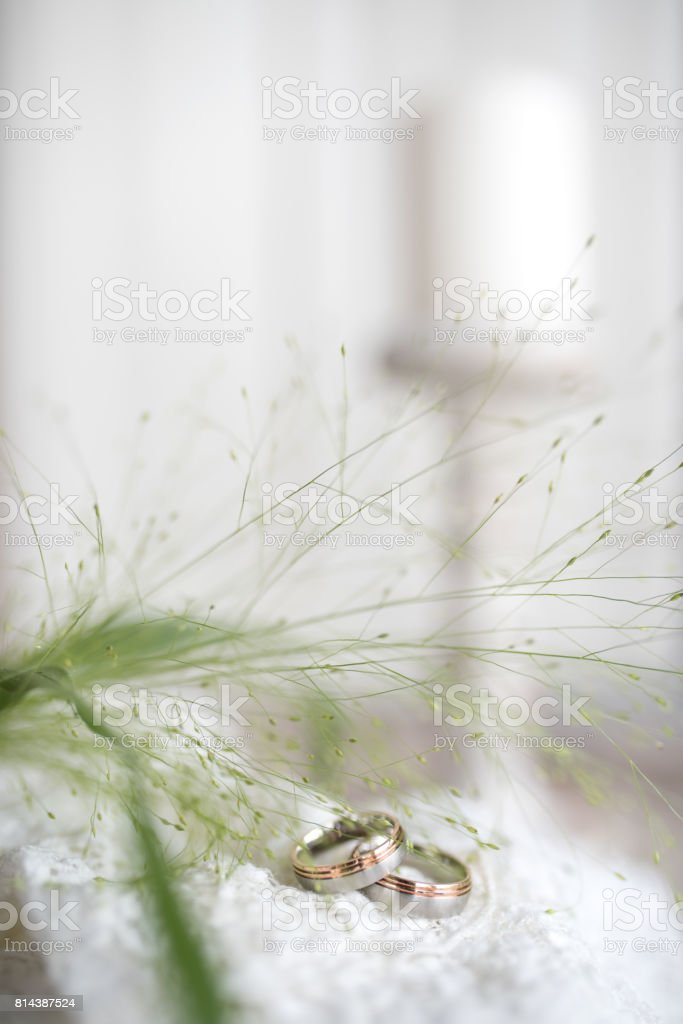 Tender still life with wedding rings stock photo