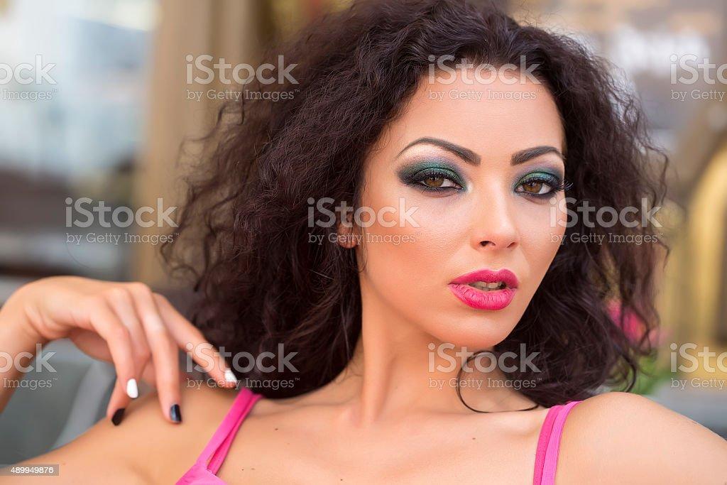 Tender woman portrait stock photo