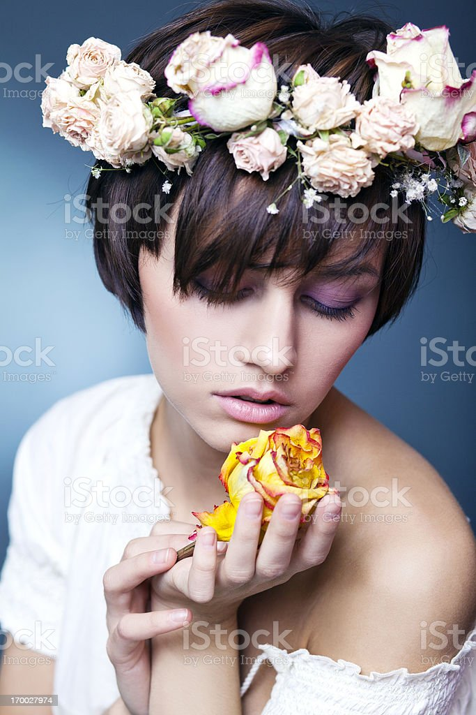 Tenderness. Beautiful woman with flowers. royalty-free stock photo