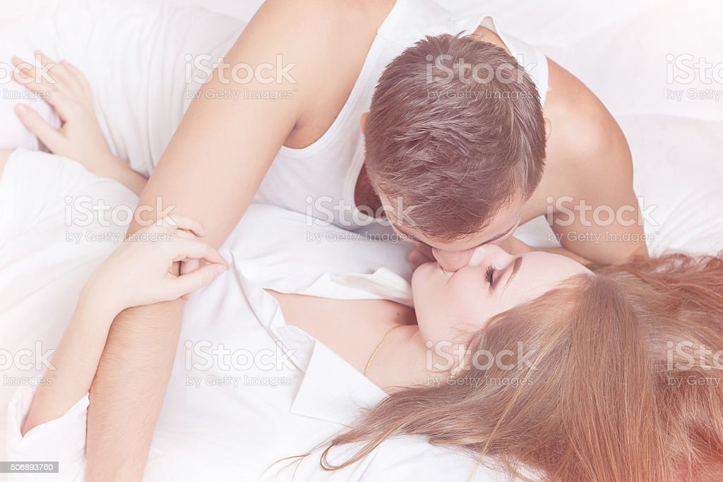 Tenderness morning of young couple stock photo