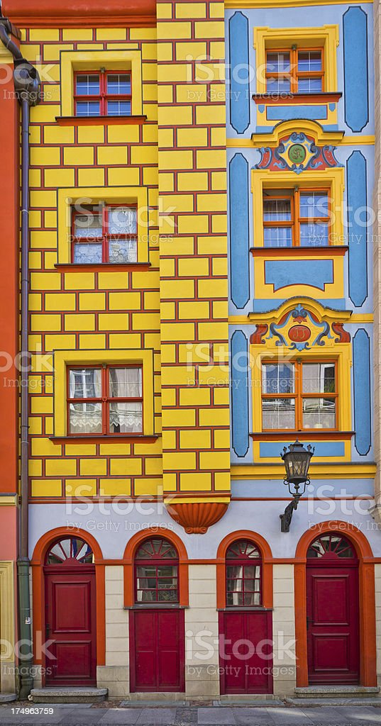 Tenement house colorful facade,Wroclaw, Poland stock photo