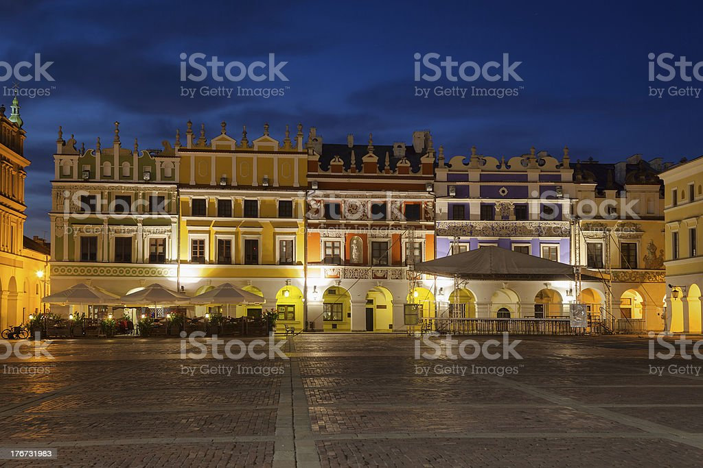 Tenement houses at night stock photo