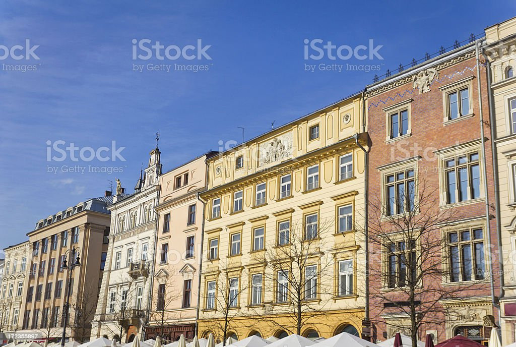 Tenement Houses in Cracow, Poland royalty-free stock photo